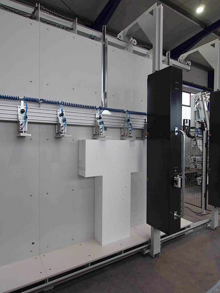 Special machine for gluing polystyrene blocks